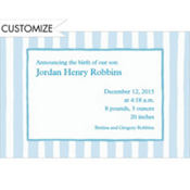 Blue Stripes Custom Birth Announcements