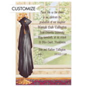 Black Graduate's Gown on Hook Custom Graduation Invitation