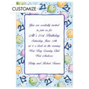 Party Balloons 21 Custom Invitation