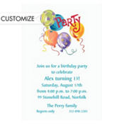 Party Balloons Custom Invitation