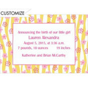 Ribbons & Little Flowers Custom Birth Announcements