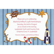 Nautical Objects on Stripe Custom Invitation