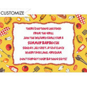 Tossed BBQ Objects Custom Invitation