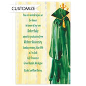 Green Graduation Gown Custom Graduation Invitation