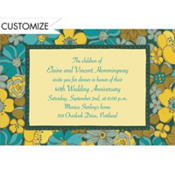 Green Retro Blossoms Custom Invitation