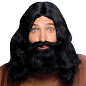 Black Biblical Beard & Wig Set