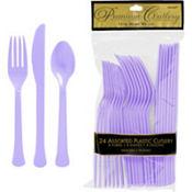 Lavender Premium Plastic Cutlery Set 24ct