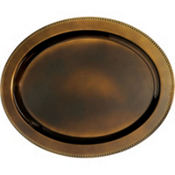 Elegant Fall Brown Oval Plastic Platter 19 3/4in x 15 1/2in