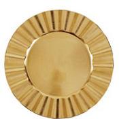 Gold Metallic Ruffle Plastic Charger 13in