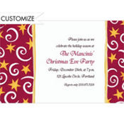 Stars and Swirls Red Custom Invitation