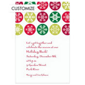 Mod Snowflakes Red Custom Invitation