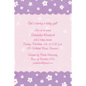 Dainty Flowers & Scallop Custom Baby Shower Invitation