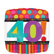 40th Birthday Dots & Stripes Foil Balloon 18in