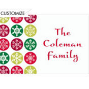 Mod Snowflakes Red Custom Thank You Note