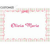 Pink Plaid & Ribbon Custom Baby Shower Thank You Note