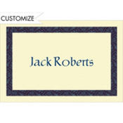 Navy Vine Border/Ecru Custom Thank You Note
