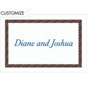 Black Moroccan Border/White Custom Thank You Note