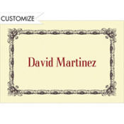 Black Moulding Border/Ecru Custom Thank You Note