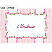 Pink Flowers and Cross Custom Thank You Note