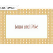 Cream Soda Polkadot Stripe Custom Thank You Note