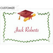 Crimson Mortarboard & Ivy Custom Thank You Notes