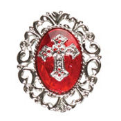 Red Gothic Cross Ring