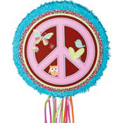 Hippie Chick Round Pinata 17in