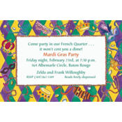 Harelequin Border Custom Mardi Gras Invitations