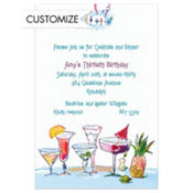 Funky Cocktails Custom Invitation