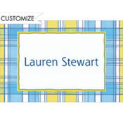 Blue & Yellow Check Custom Baby Shower Thank You Note