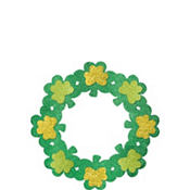 Wooden Glitter Shamrock Wreath 14 1/2in