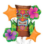 Foil Tiki Totem Balloon Bouquet 5pc
