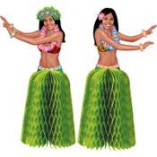 Tiki Honeycomb Hula Girl Centerpieces 2ct