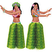 Tiki Honeycomb Hula Girl Centerpieces 6in 2ct