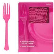 Bright Pink Premium Plastic Forks 100ct