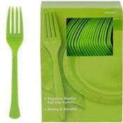 Kiwi Green Premium Plastic Forks 100ct