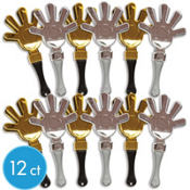 Black, Gold and Silver Hand Clappers 12ct
