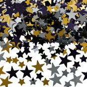 Silver, Black & Gold Star Confetti 5oz