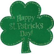 Glitter Happy St. Patrick's Day Shamrock Cutout