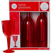 Red Premium Plastic Wine Glasses 18ct