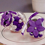 Lavender Rhinestone Flower Wedding Favor Accessory 6ct