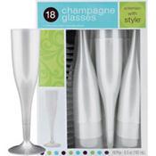 Pearl Premium Plastic Champagne Flutes 18ct
