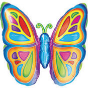 Foil Bright Butterfly Balloon 25in