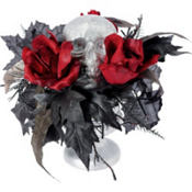Thorny Rose Skull Centerpiece 9in x 7in