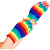 Rainbow Stripe Fingerless Gloves