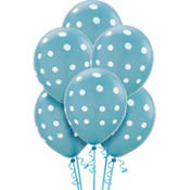 Latex Caribbean Blue Polka Dot Balloons 12in 6ct