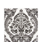 White & Black Grandeur Lunch Napkins 20ct
