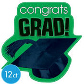 Green Congrats Grad Graduation Cutouts 10 1/2in 12ct