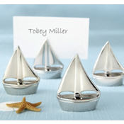 Silver Sailboat Place Card Holders Wedding Favor 4ct
