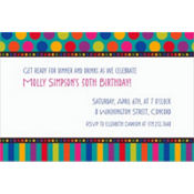 Birthday Dots & Stripes Custom Invitation